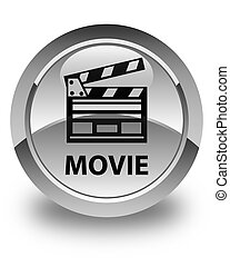 Movie (cinema clip icon) glossy white round button