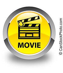 Movie (cinema clip icon) glossy yellow round button