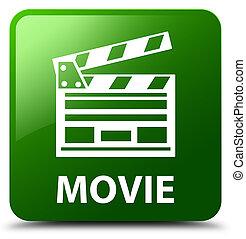 Movie (cinema clip icon) green square button