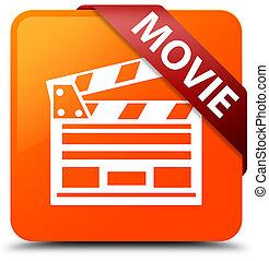 Movie (cinema clip icon) orange square button red ribbon in corner