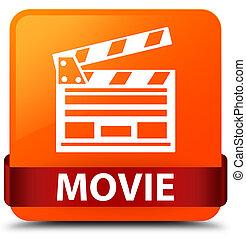 Movie (cinema clip icon) orange square button red ribbon in middle