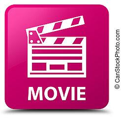 Movie (cinema clip icon) pink square button