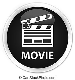 Movie (cinema clip icon) premium black round button