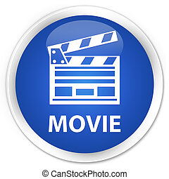 Movie (cinema clip icon) premium blue round button