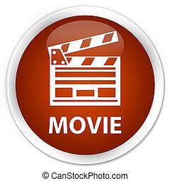 Movie (cinema clip icon) premium brown round button