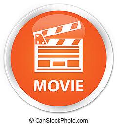 Movie (cinema clip icon) premium orange round button