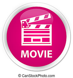 Movie (cinema clip icon) premium pink round button