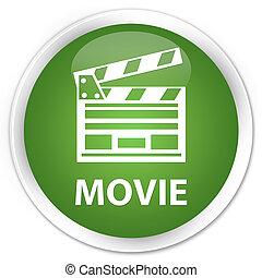 Movie (cinema clip icon) premium soft green round button