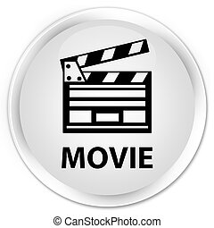 Movie (cinema clip icon) premium white round button