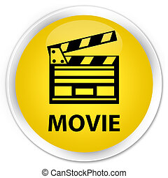 Movie (cinema clip icon) premium yellow round button