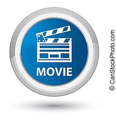 Movie (cinema clip icon) prime blue round button