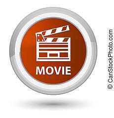 Movie (cinema clip icon) prime brown round button