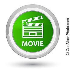 Movie (cinema clip icon) prime green round button