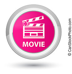 Movie (cinema clip icon) prime pink round button