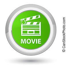 Movie (cinema clip icon) prime soft green round button