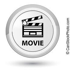Movie (cinema clip icon) prime white round button