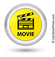 Movie (cinema clip icon) prime yellow round button