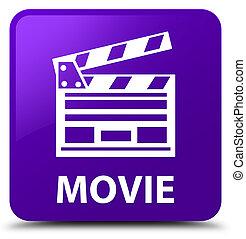 Movie (cinema clip icon) purple square button