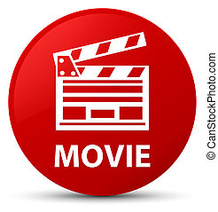 Movie (cinema clip icon) red round button