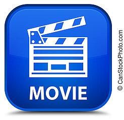 Movie (cinema clip icon) special blue square button
