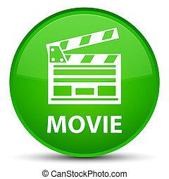 Movie (cinema clip icon) special green round button