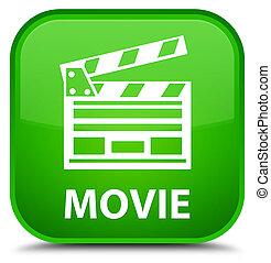 Movie (cinema clip icon) special green square button