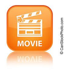 Movie (cinema clip icon) special orange square button