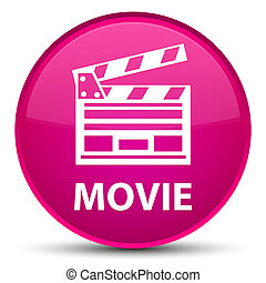 Movie (cinema clip icon) special pink round button