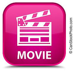 Movie (cinema clip icon) special pink square button