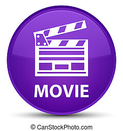 Movie (cinema clip icon) special purple round button