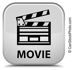 Movie (cinema clip icon) special white square button