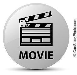 Movie (cinema clip icon) white round button