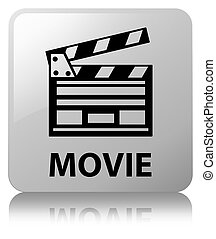 Movie (cinema clip icon) white square button