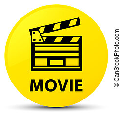 Movie (cinema clip icon) yellow round button