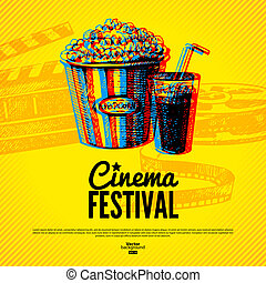 Movie cinema festival poster. Vector background