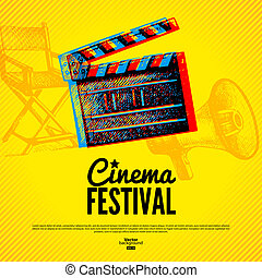 Cinema movie festival poster card template vector cinema movie movie cinema festival poster vector background stopboris Image collections