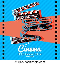 Movie cinema festival poster. Vector background with hand drawn