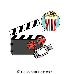 movie cinema flat line icon
