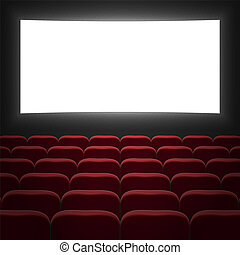 cinema hall with white screen