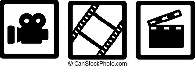 Movie cinema icons - camera, film reel and clapperboard