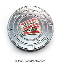 Movie, cinema or video vintage concept. Tickets on retro...