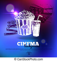 Movie cinema poster. Background with hand drawn sketch illustrations and light effects