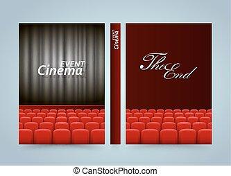 Movie cinema premiere poster design. Banner film book. A4 size paper, Template design element, Vector background