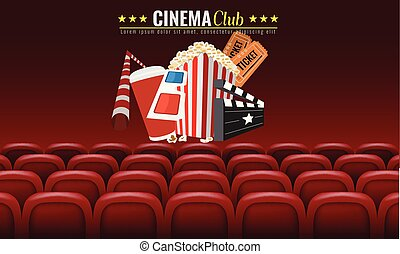 Movie cinema premiere poster design. Vector template banner for show with seats, popcorn, tickets. Red background.