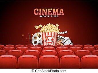 Movie cinema premiere poster design. Vector template banner for show with seats, popcorn, tickets.