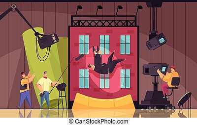 Cinema motion movie filming process cartoon composition with shooting stunt performer falling from building roof vector illustration