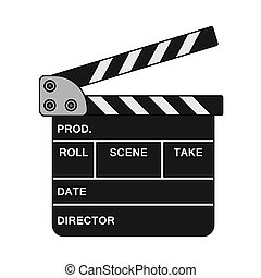 Movie Clap Board Icon. Editable Outline With Color Fill ...