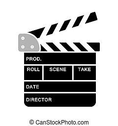 Movie Clap Board Icon. Flat Color Design. Vector ...