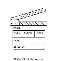 Movie clap board icon. Thin line design. Vector illustration...
