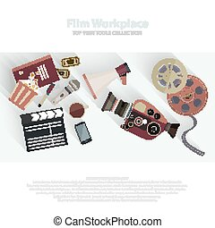 Movie clapper and film reel. Film strip and tickets. Cinema attributes in flat style design. Film crew, movie equipment, film camera, video equipment.